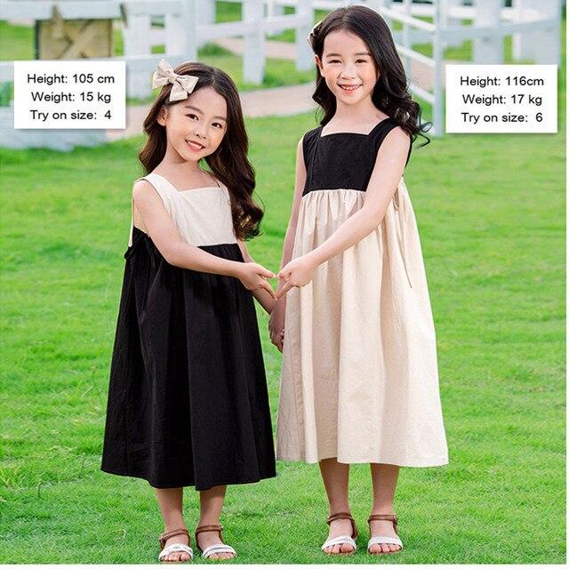 4 a 14 anni i bambini e adolescente ragazze di estate blocchetto di colore del cotone casual flare midi del vestito della ragazza senza maniche piazza del collare vestito dalla maglia 2