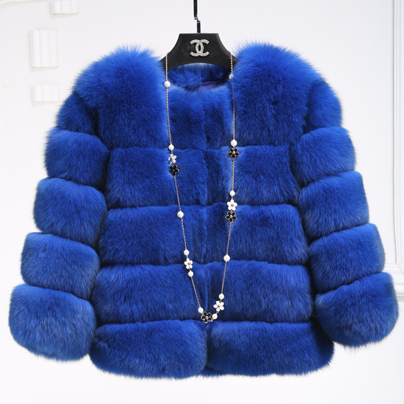 New 2019 Imitation Fur Coat Cultivate One's Morality Short Faux Fox Fur Splicing Factory Outlet SX1421