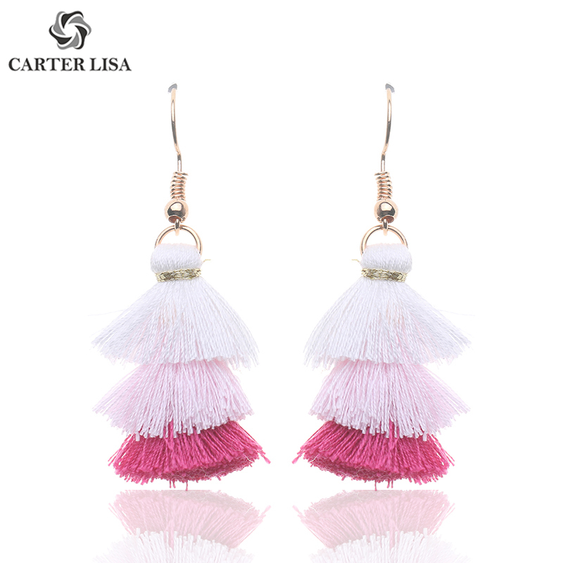 CARTER LISA Bohemian Three Layers Cheap Thick Long Tassel Statement Earrings For Women Ethnic  Fringed Earrings Jewelry HDEA-037