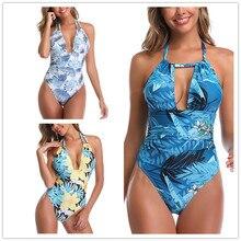 2020 Sexy Women Swimwear Halter V Neck Open Back One Piece Swimsuit Swimming Suit Bikinis Mujer Solid Beach Wear Bodysuit