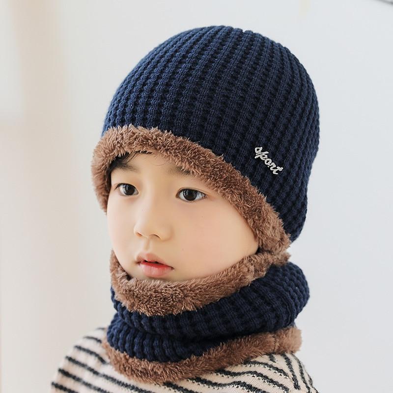 9501 Children's Winter Warm Thick Hat Scarf Set Kids Caps Hats Bundle Keep Warm Cute Set