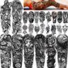 24 Sheets Cool Super Large Full Arm Temporary Tattoo Sleeve For Men with 8 Sheets Full Sleeve Temporary Tattoos For