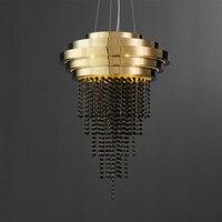 Luxus Schwarz Kristall Kronleuchter Beleuchtung Gold Edelstahl Esszimmer Wohnzimmer Hängen LED Cristal Lustre Lampe-in Pendelleuchten aus Licht & Beleuchtung bei