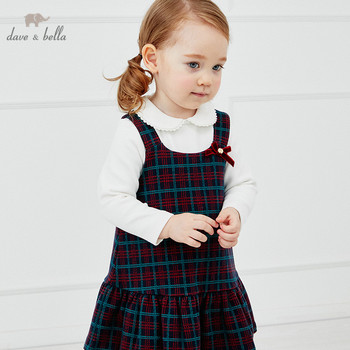 DB14871-2 dave bella autumn baby girl's princess bow plaid strap dress lolita party suspenders dress toddler children clothes image