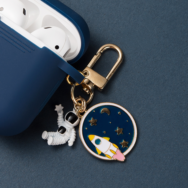 Retro Astronaut Spaceman Silicone Case For Apple Airpods 1 2  Accessories Protective Cover Headset Box Earphone Case Key Ring