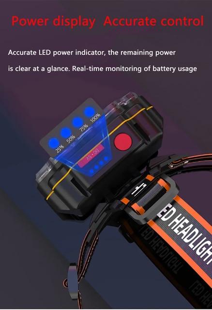 Most Bright 8 LED Headlight USB Rechargeable Headlamp High Lumen Head Lamp Light Waterproof Head Torch 70000Lumens Headlamps 5