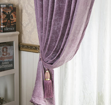 Window Shade Chenille Curtains for Living Dining Room Bedroom Purple Solid Color Blackout