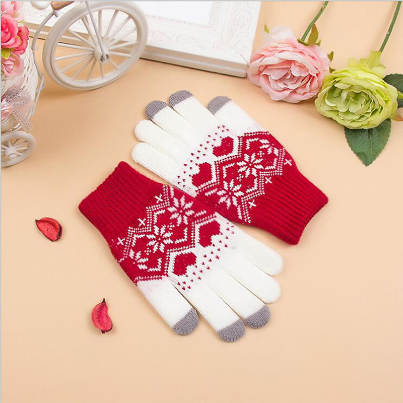 Winter Gloves Female Touch Screen Mittens For Women Christmas Snowflake Full Finger Mitts Wrist Gloves Gants Femme Hiver