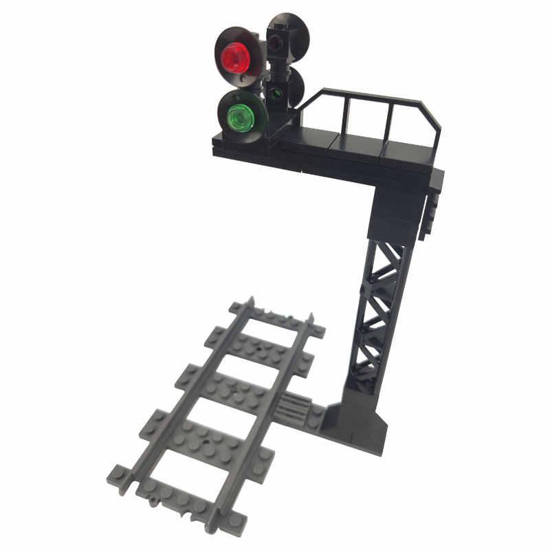 Legoing City tor kolejowy tunel sygnałowy zestawy modeli sygnalizacji świetlnej klocki budowlane na prezent dla dzieci z miastami Legoings