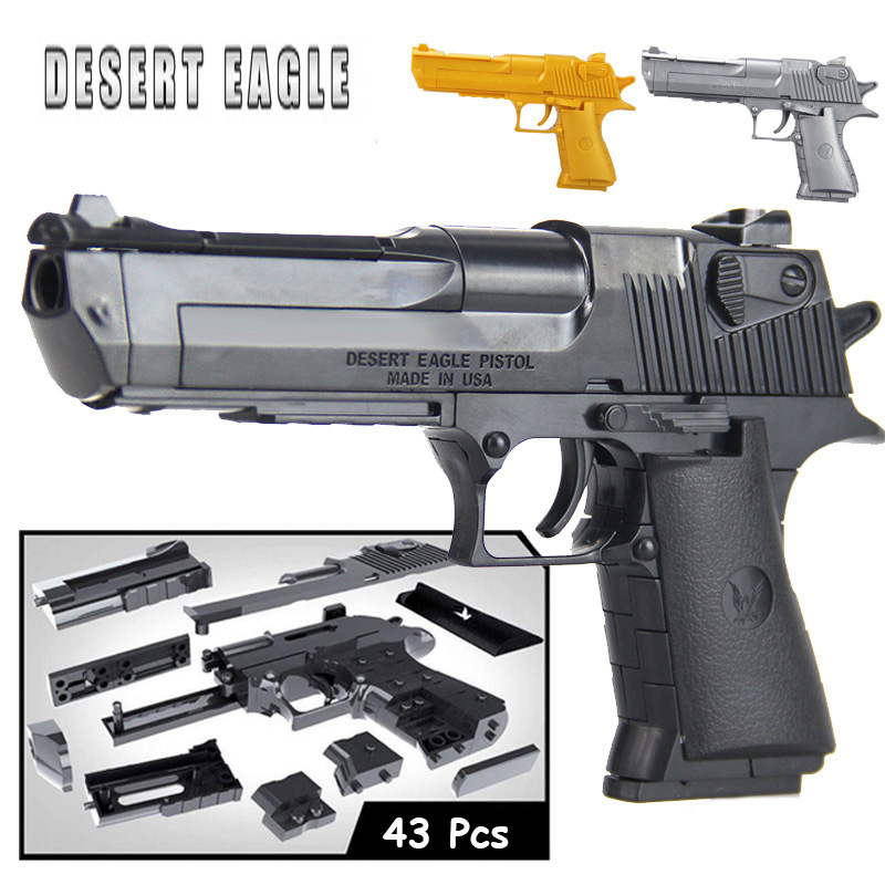 DIY Building Blocks Toys Weapon <font><b>Desert</b></font> <font><b>Eagle</b></font> Miniature Plastic Assembly Toy Gun Model Kits Can Fire Bullets for Kids Boys Gifts image