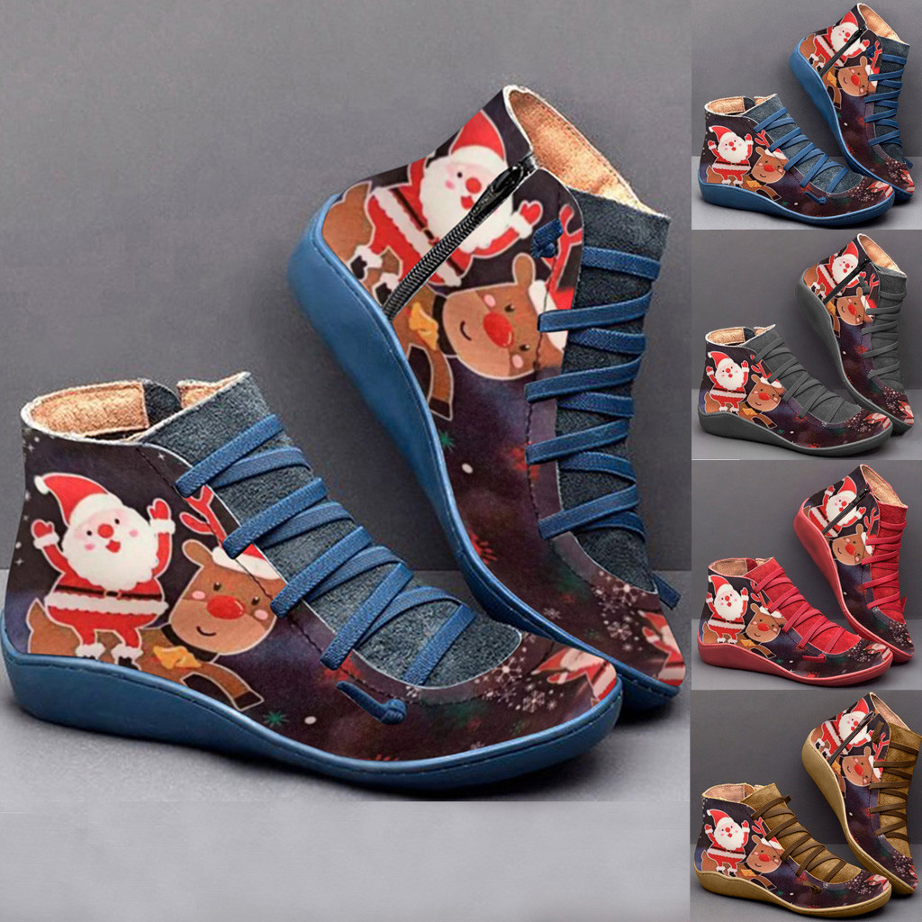 2020 Spring Winter New Women's Casual Flat Leather Retro Lace-up Boot Side Zipper Round Toe Shoe Boots Christmas Pattern Boot#31
