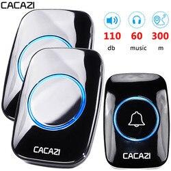 CACAZI 60 Chime 110DB Wireless Doorbell Waterproof 300M Remote EU AU UK US Plug smart Door Bell battery 1 button 1 2 3 receiver