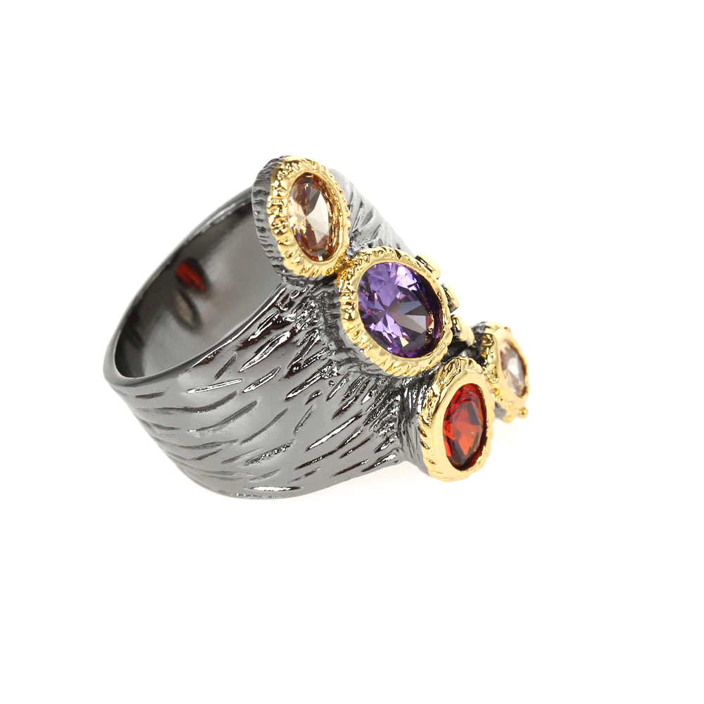 WA11781 DreamCarnival1989 Creative Multi-Colors Cubic-Zirconia-Ring for Women Black-Gold Gothic Rings Amazing Price Hot Pick (3)
