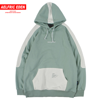 Aelfric Eden Patchwork Mens Hooded Sweatshirts Harajuku Casual Cotton Hoodies 2019 Streetwear Hip Hop Fashion Pullover Oversized