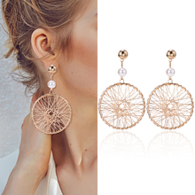 HOCOLE Fashion Gold Metal Drop Earrings For Women Vintage Round Hollow Pendant Earring Statement 2019 Brincos Jewelry Gift