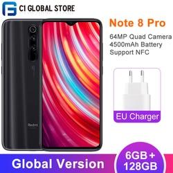 Versão global xiaomi redmi nota 8 pro 6gb 128gb telefone móvel mtk helio g90t octa núcleo 64mp quad câmera 4500mah smartphone nfc