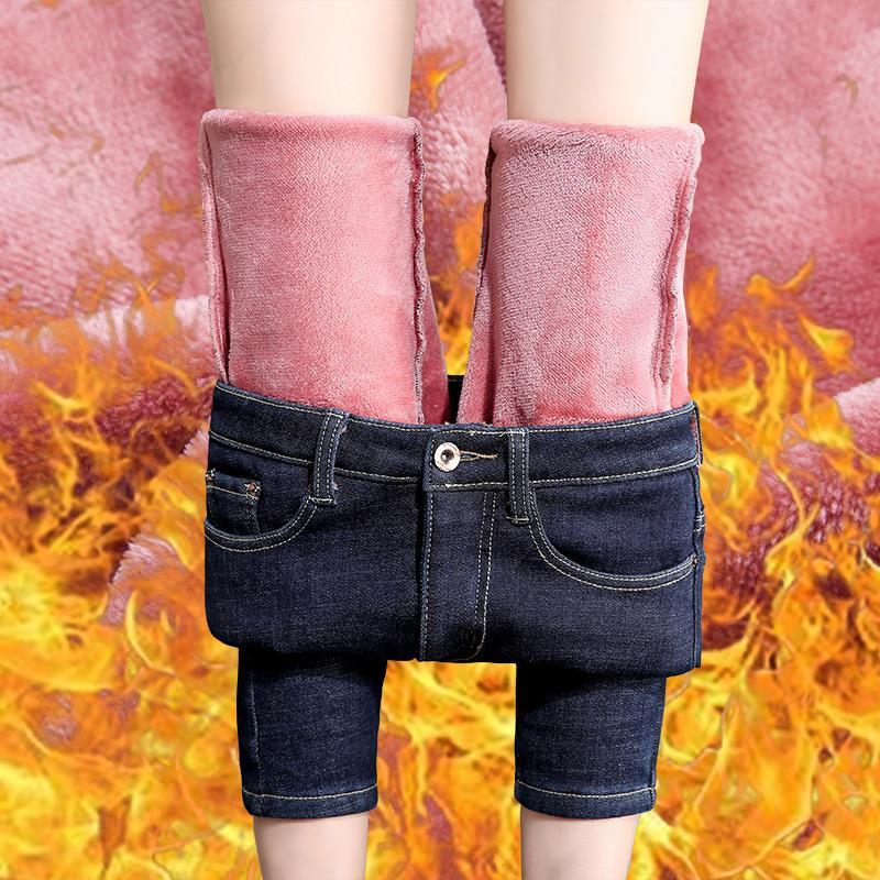 2020 Winter Warm Jeans For Women Elastic Jeans Female Trousers  Fleeces Thickened Velvet Thick Insulated Jeans Pants
