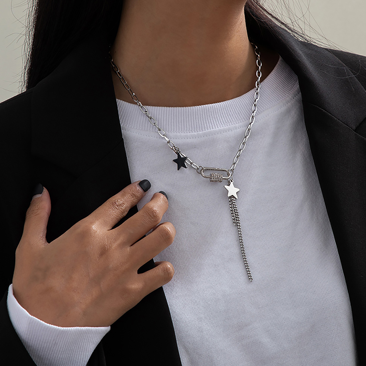 SHIXIN Stainless Steel Chain With Stars/Tassel Pendants Necklace for Women/Men Fashion Rhinestone Necklaces 2020 Korean Jewelry