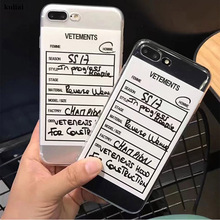Phone-Case Vetements Soft-Silicon 6s-Plus for 11 12/Pro-x-xs/Xr-max/.. Coque Label Funny
