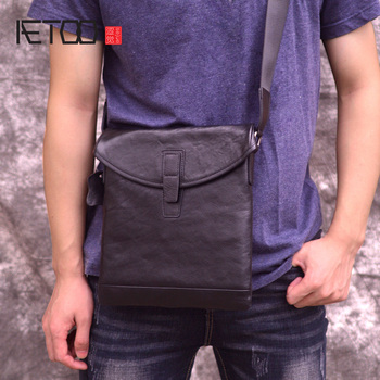 AETOO One shoulder bag, men's leather slant bag, head leather ultra-thin men's casual small bag