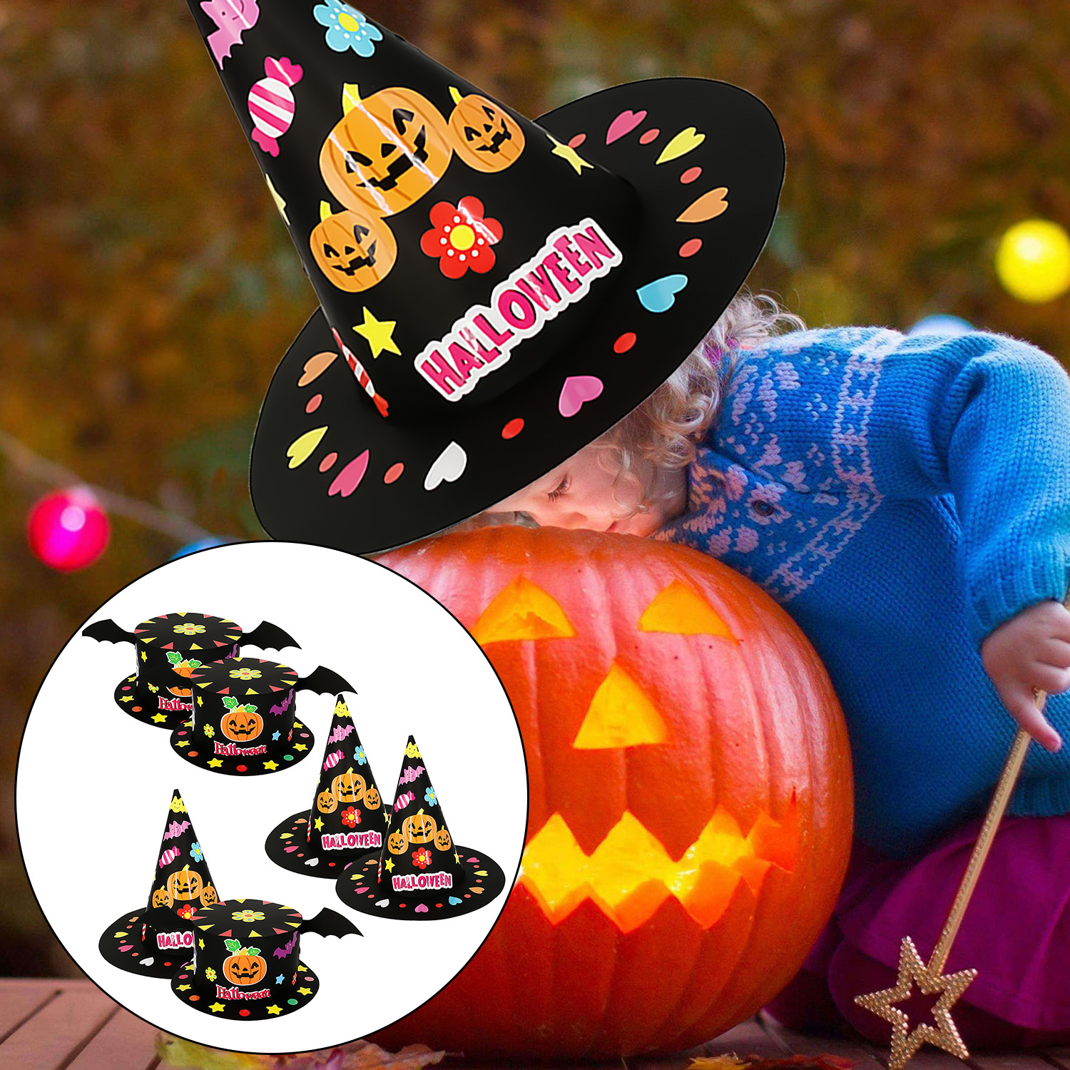 2PCS Handmade DIY Paper Hat Set With Sticker Double-sided Tape For Kids Children Halloween Cosplay Festival Party Props Favors