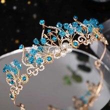 Trendy Tiara Handmade Crystal Blue Rhinestone Crowns Princess Hair Tiara Birthday Tiara Wedding Bridal Accessories rhinestone two heart princess tiara