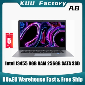 KUU A8 For intel J3455 Quad Core Ultrabook 15.6 inch Student Laptop 8GB RAM 256GB SSD Notebook With Webcam Bluetooth WiFi(China)
