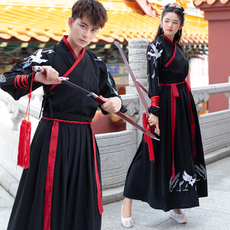 Black Embroidery Hanfu Classical Dance Costume Neutral Fairy Dress Crane Festival Outfit Folk Stage Performance Clothes DF1498
