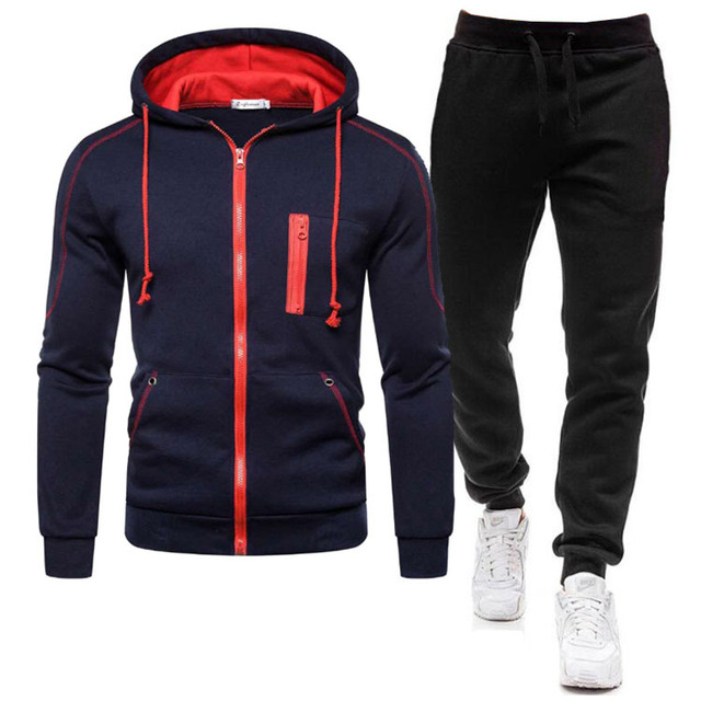 2 Pieces Sets Tracksuit Men Autumn Zipper Hoodie Sweatshirt+pants Solid Sporting Fitness Hooded Outerwear Jacket Joggers Suit 4