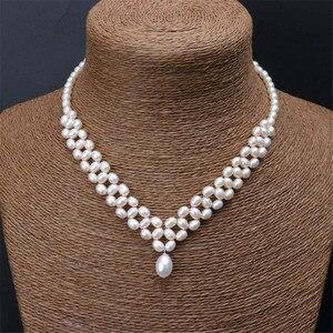 YKNRBPH женский изысканный ручной ткачество жемчужное ожерелье для невесты для свадьбы подарок ювелирные изделия жемчужные цепочки