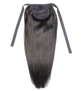 ZZHAIR Ribbon Ponytail Human-Hair-Extensions Straight-Hair Natural 16--20-machine-Made