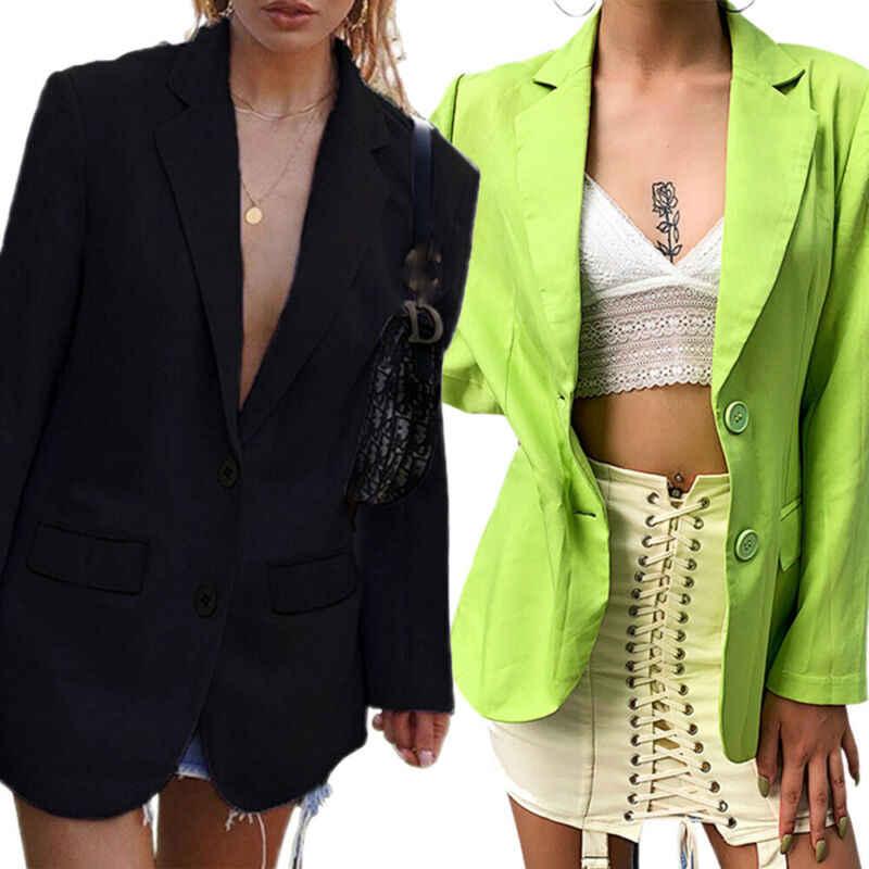 Button Women Slim Coat Sleeve Blazer Outwear Suit Fit Long Jacket OL Work Casual