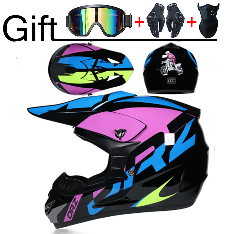 Professional DOT Motorcycle Helmet Off-road Helmet Downhill  Racing Motocross Casque Moto Helmet 3 Free Gift Suitable Kid