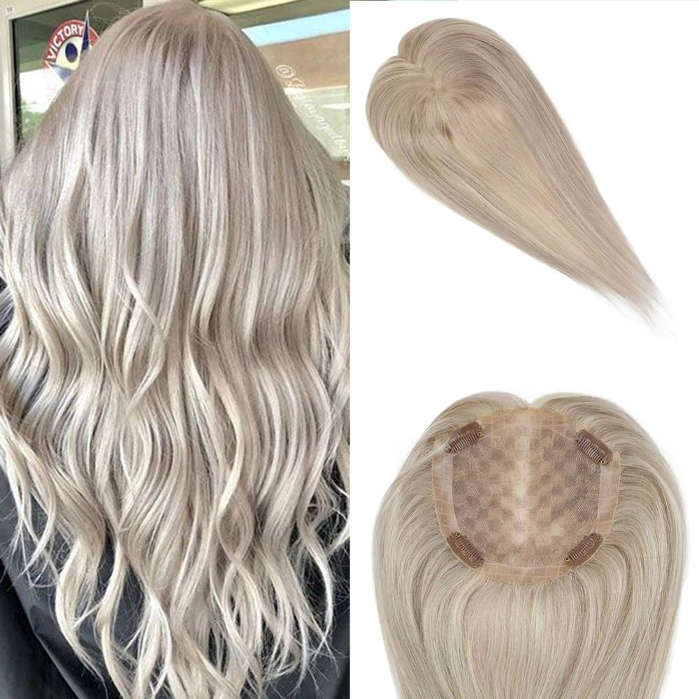 BYMC # 613 Color Crown Topper Indian Hair Piece With Clip For Women  Remy Real Human Hair Toupee For Thinning  Hair