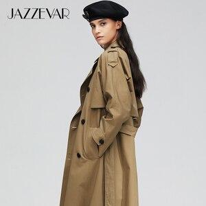 Image 4 - جديد لعام 2020 من jazevar معطف خريفي للنساء من القطن المغسول طويل مزدوج الصدر ملابس فضفاضة عالية الجودة 9013 1