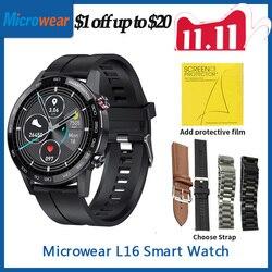 Подарок мягкая пленка Microwear L16 Smartwatch ЭКГ кровяное давление фитнес-часы 360*360IPS IP68 Водонепроницаемые 22 мм L16 Смарт-часы для мужчин VS умные часы ...