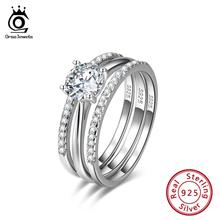 ORSA JEWELS, настоящее 925 пробы, серебряные женские обручальные кольца, кубический цирконий, Женское кольцо, Трендовое, подарок на день Святого Валентина, ювелирные изделия SR134