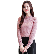 2019 New Fashion Womens Tops And Blouses Long Sleeve Sexy Hollow Lace Blouse Shirt Women Shirts
