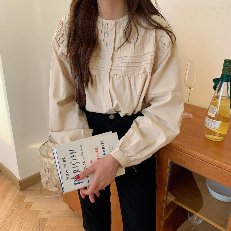 Ha82675778e9a4e2d9fc9f53f731e0c166 - Spring / Autumn Korean O-Neck Long Sleeves Pleated Solid Buttons Blouse