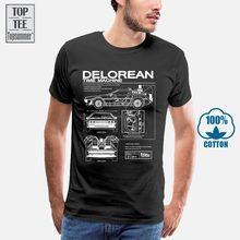 Volta Para O Futuro Delorean Esquemático T-shirt Com Impressão do T-Shirt Dos Homens Da Motocicleta de Algodão Camisetas de Verão T-Shirt Dos Homens do Hip Hop
