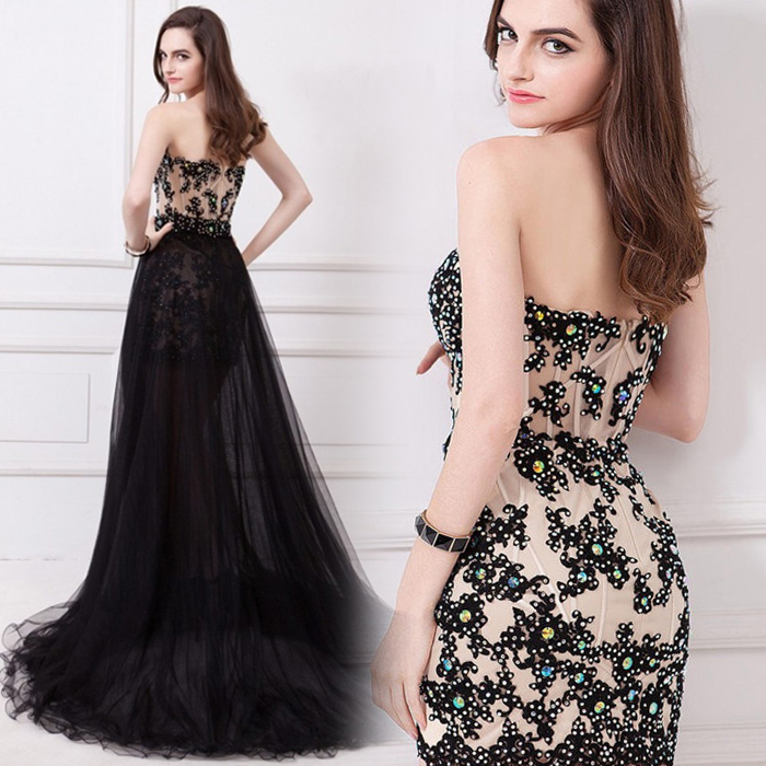 Free Shipping Black Appliques Beading Tulle Sweetheart Prom Gown 2018 Detachable Skirt Evening