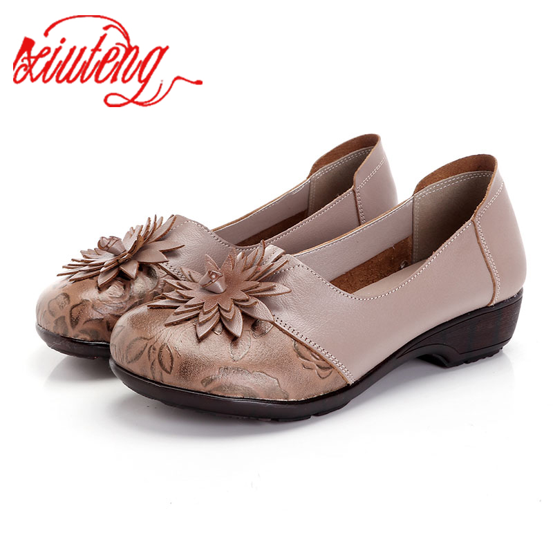 Glglgege Flowers Handmade Shoes Women's Floral Soft Flat Bottom Casual Shoes Folk Style Moccasins Women Genuine Leather Shoes
