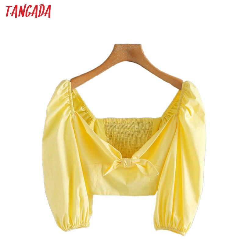 Tangada Women Yellow Bow Crop Shirts Summer Half Sleeve Solid V-neck Ladies Street Wear Blouses 5Z83