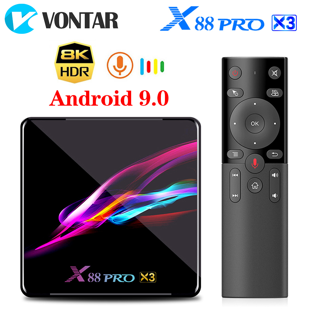 VONTAR X88 PRO X3 TV Box Android 9 0 4GB RAM 64GB 128GB 32GB Amlogic S905X3 Quad-core 1080p  8K Wifi youtube 2G 16G Set top Box
