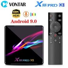 Vontar x88 pro x3 caixa de tv android 9.0 4gb ram 64gb 128gb 32gb amlogic s905x3 quad core 1080p 8k wifi youtube 2g 16g conjunto caixa superior