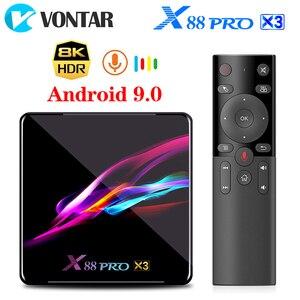 Image 1 - صندوق التلفزيون فونتار X88 برو X3 أندرويد 9.0 4GB RAM 64GB 128GB 32GB Amlogic S905X3 رباعي النواة 1080p 8K واي فاي يوتيوب 2G 16G مجموعة صندوق