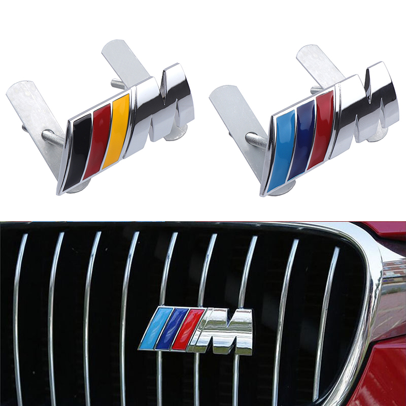 Car Styling 3D Metal Stickers Front Grille Badge Emblem Fit For M E90 E91 E92 E93 M3 E60 E61 F10 F07 M5 X1 X3 X5 Accessories