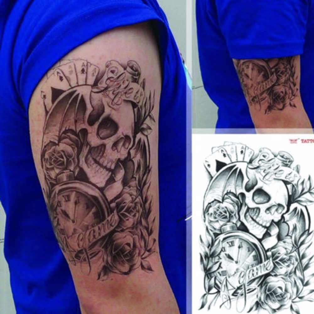 Mężczyźni mężczyzna Sexy tymczasowy tatuaż czaszka zegar ciało ramię naklejki wymienny moda czarne duże wodoodporne tatuaże