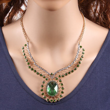 Золотая цепочка, хрустальные стразы, подвеска в виде цветка, ожерелье для женщин, модная новинка, ювелирные изделия ручной работы металлические
