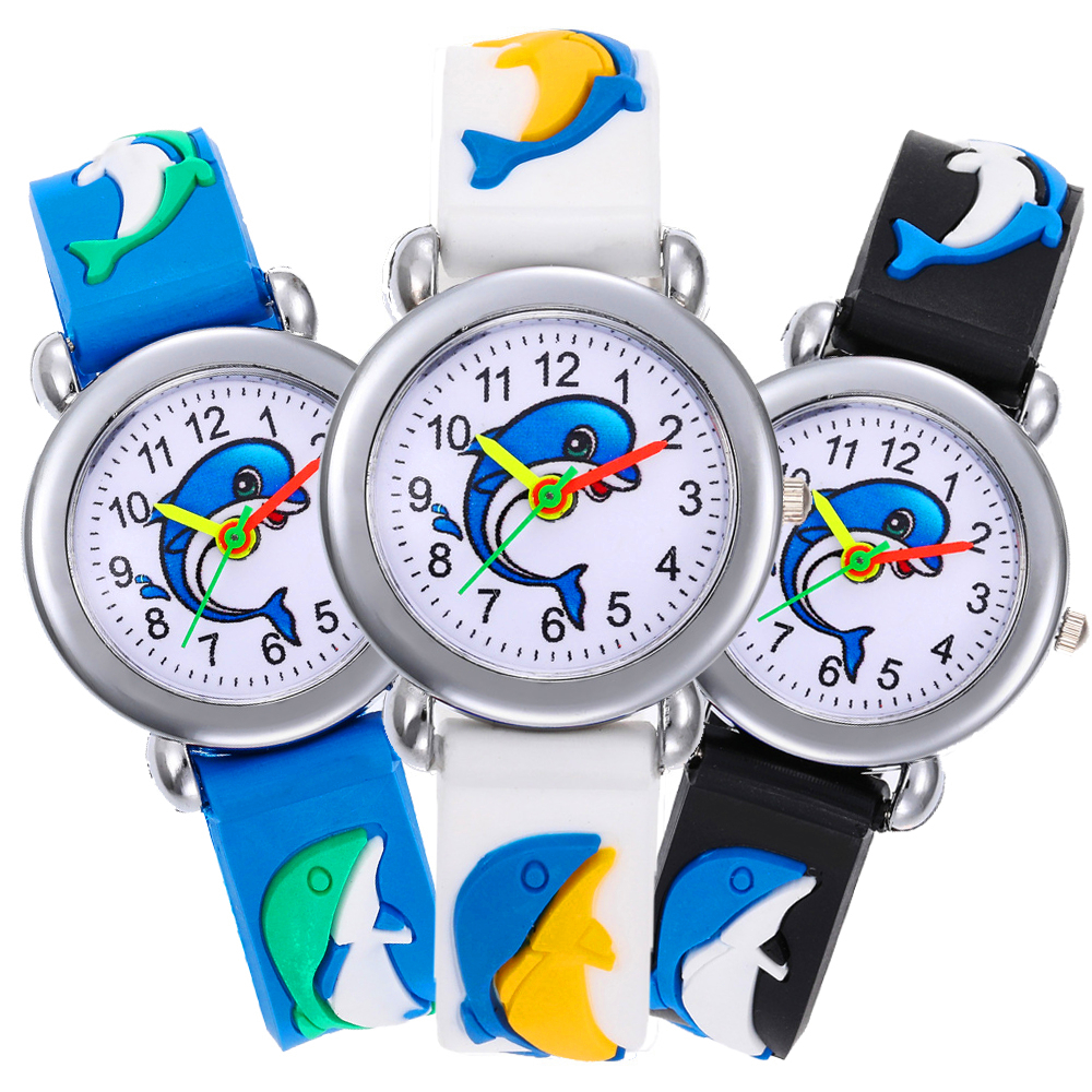 New 3D Dolphin Fish Cartoon Kids Watches Boys Watch Children Girls Silicone Clock Dress Analog Child Quartz Wristwatch Baby Gift
